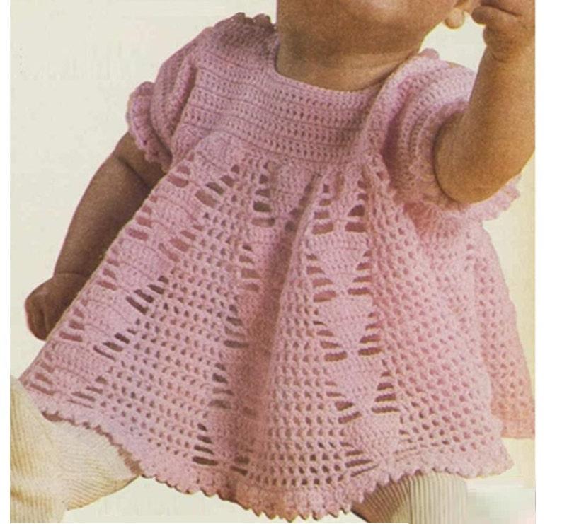 60efee77d Patron pdf de tejido crochet vestido bebe nina 1970s