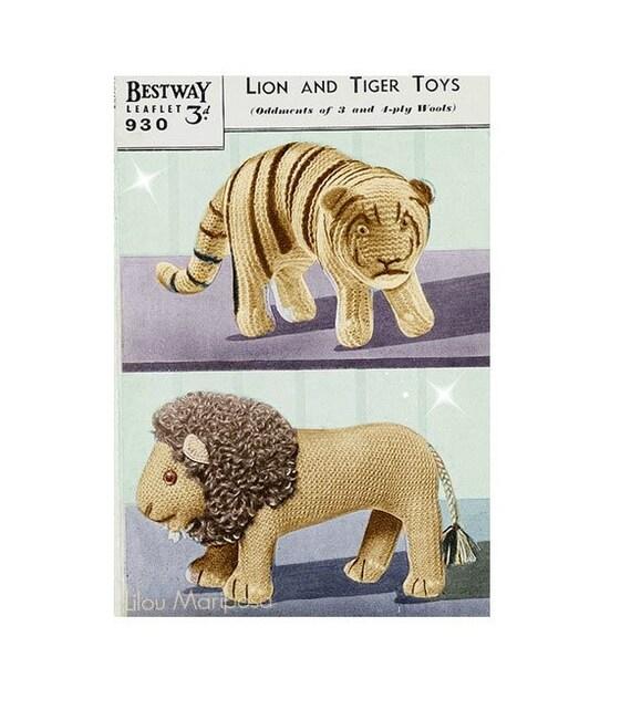 Patron pdf de tejido en crochet juguete tigre y leon munecos de peluche, 1940