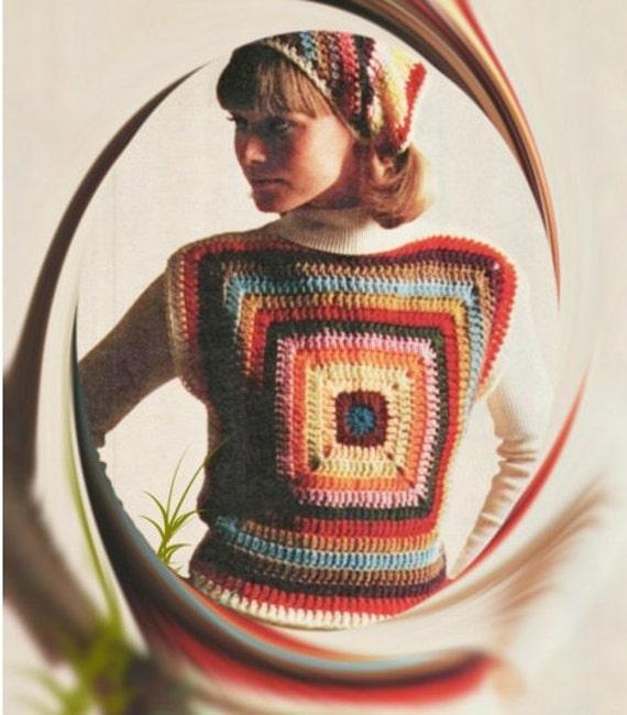 Patron pdf de tejido en crochet blusa sueter top con cuadros | Etsy