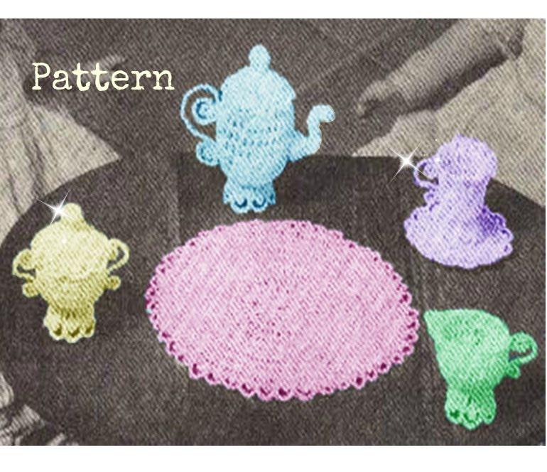 Patron 60s pdf de tejido en crochet el juego de tazas para el | Etsy