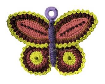CROCHET POTHOLDER PATTERN Crochet Butterfly Pattern Crochet Butterfly potholder pattern Vintage crochet pattern