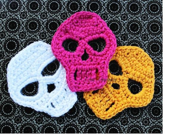 Crochet Skull Pattern Skull Applique Pattern Motif Crochet Etsy