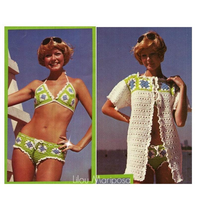 0a0306d4090 Crochet BIKINI Pattern Vintage 70s Sexy Granny Square Bikini   Etsy