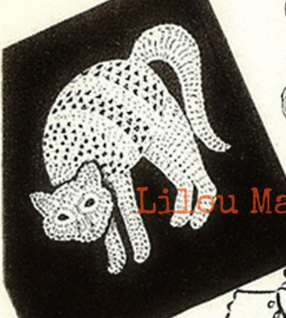 Patron pdf 1918 de tejido en crochet GATO aplique halloween | Etsy
