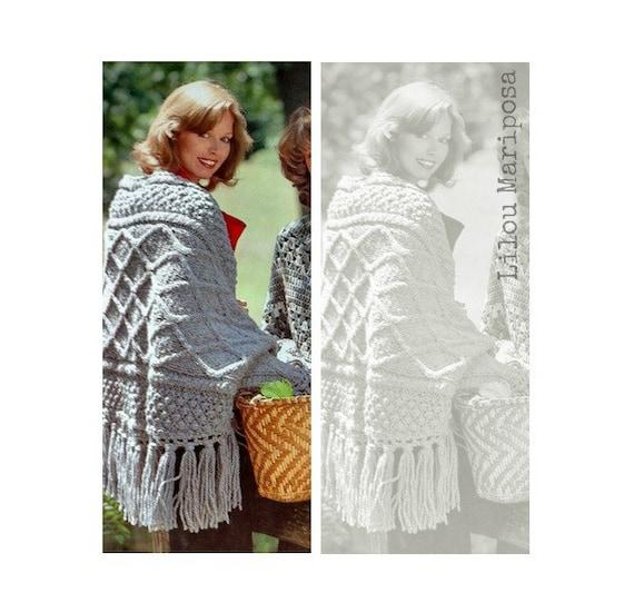 Patron 70s pdf de tejido en crochet poncho rustico sueter tipo | Etsy