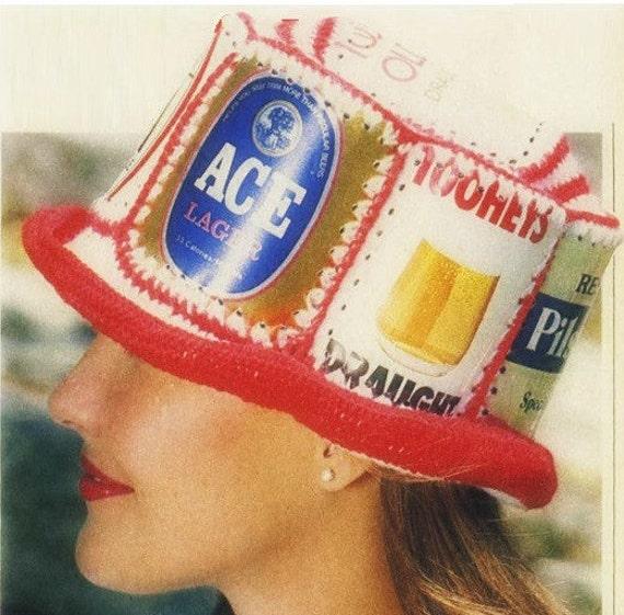 Patron Crochet 70s Gorro con latas de cerveza sombrero | Etsy