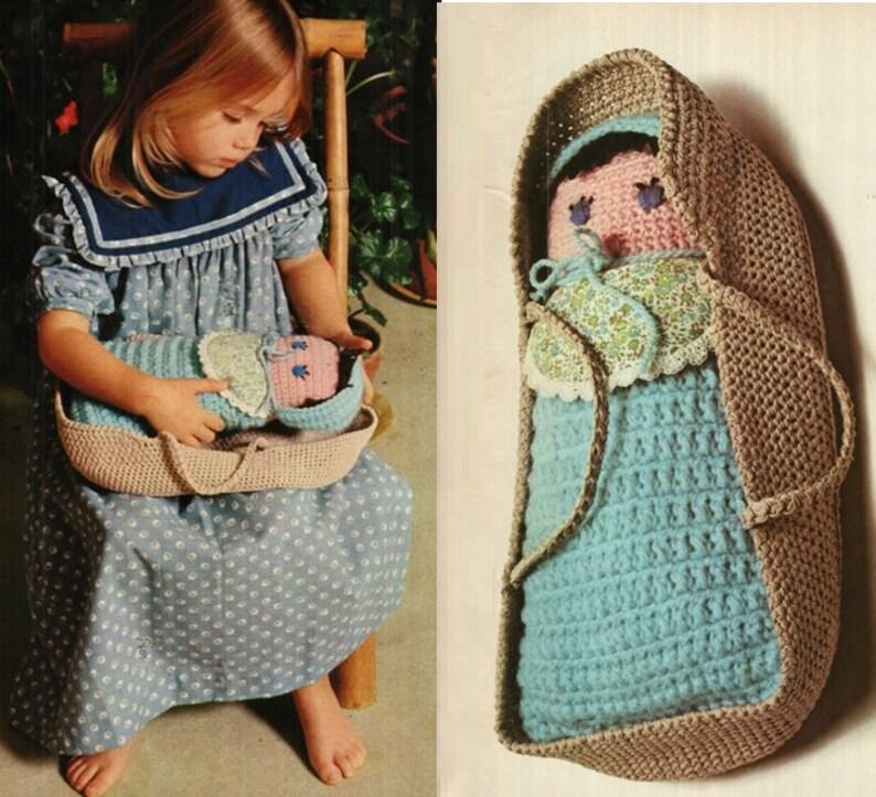 b1640dfb474 Crochet Baby Doll Pattern Vintage 70s Crochet Doll Pattern
