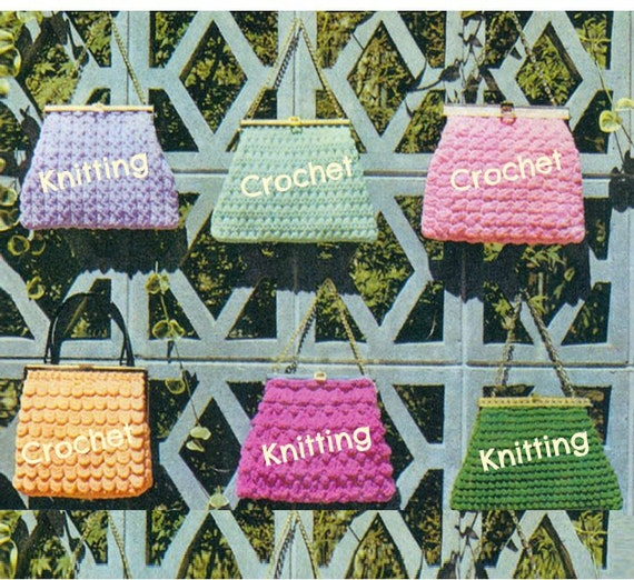 40 KNITTING CROCHET HANDBAG Patterns Lot Vintage 40s Crochet Etsy Inspiration 60s Patterns