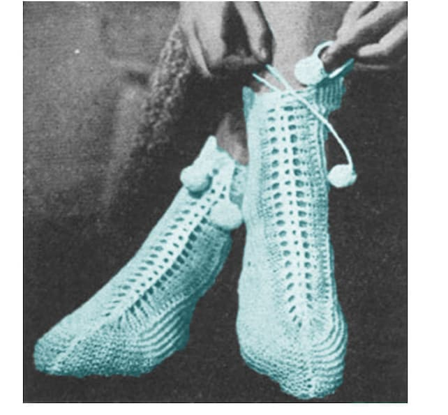 Knitting Socks Pattern Knitted Slippers Pattern Vintage 40s Etsy