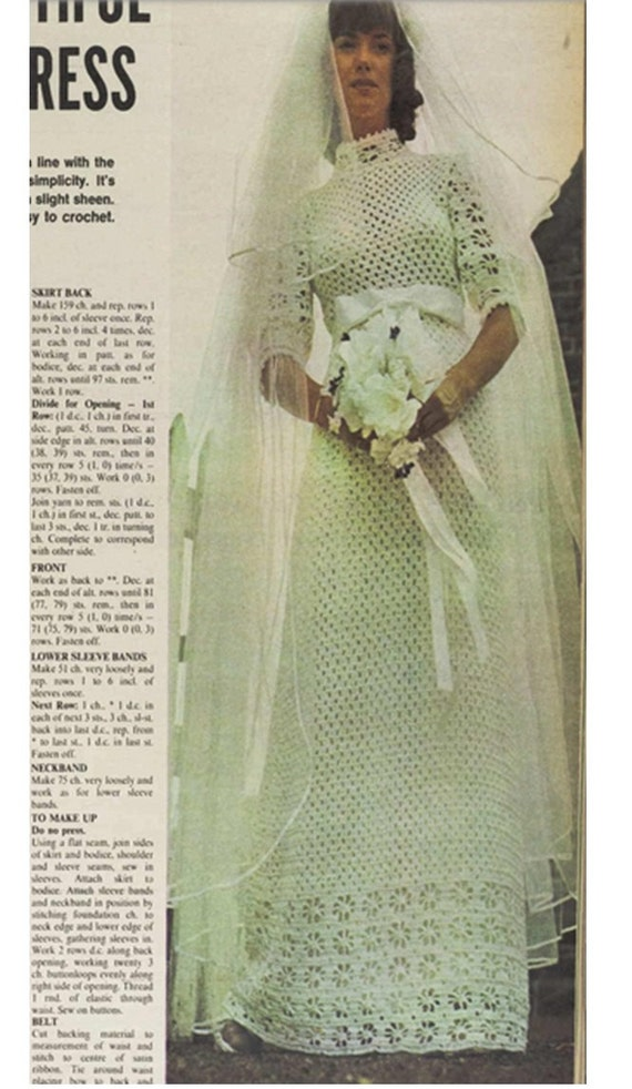 Crochet Pattern Vintage 70s Crochet Wedding Dress Pattern | Etsy