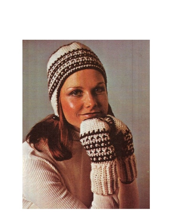 Crochet Pattern Vintage 70s Crochet Hat And Mittens Pattern Etsy
