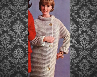 Coat Pattern Jacket Pattern Long Cardigan Pattern Sweater Pattern Knitting Pattern Vintage 70s