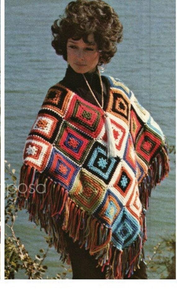 Crochet Mexican Poncho Pattern Crochet Granny Square Poncho Etsy