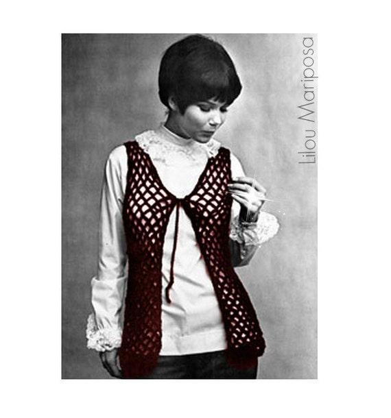 Patron pdf de tejido en crochet chaleco hippie retro 70s | Etsy