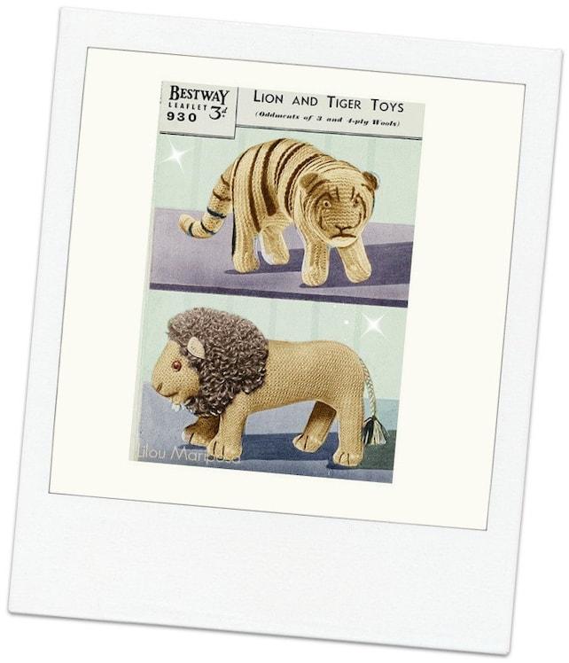 Patron pdf de tejido en crochet juguete tigre y leon munecos | Etsy