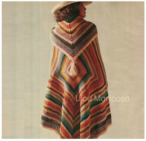 Crochet Pattern Vintage 70s Granny Square Poncho Pattern And Etsy