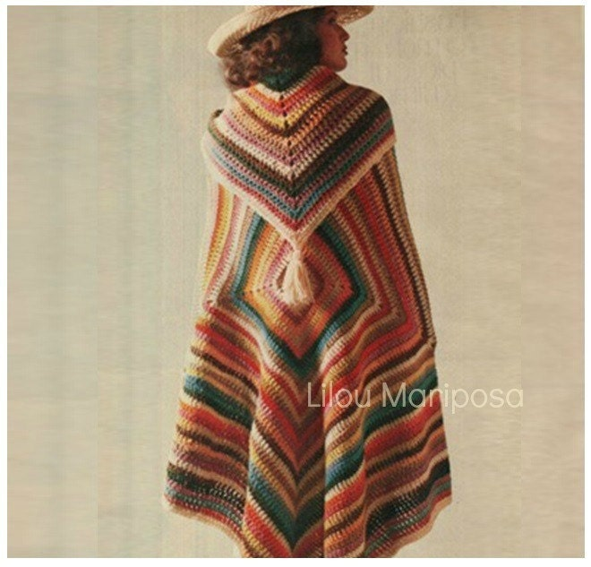 Crochet Pattern Vintage 70s Granny Square Poncho Pattern And Etsy