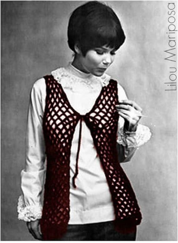 Patron pdf de tejido en crochet chaleco hippie retro 70s