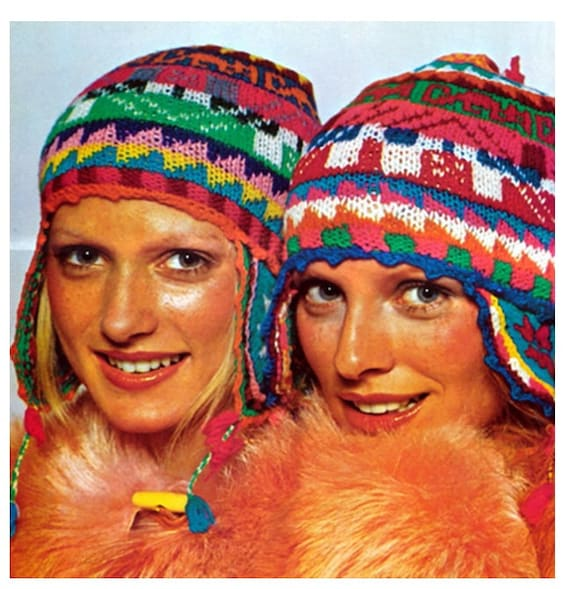 KNITTING HELMET HAT Pattern Vintage 70s Ear Flap Ski Cap Hat