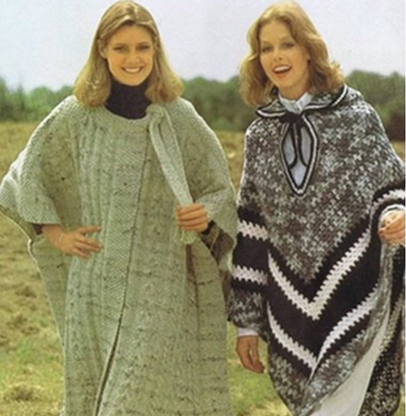 2 PONCHO PATTERNS Vintage Crochet 70s Knitting and Crochet Patterns Crochet  Shawl Pattern Instant Download