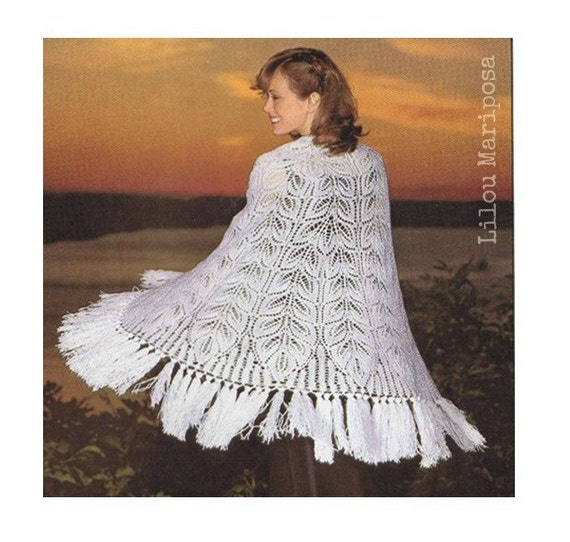 Knitting SHAWL Pattern Vintage 70s Lace Knit Shawl Knitted | Etsy