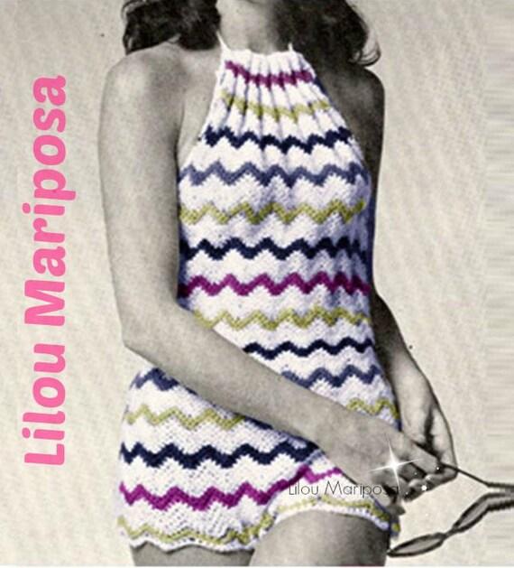 Crochet Bikini Pattern Vintage 70s Crochet Halter Top Pattern Etsy