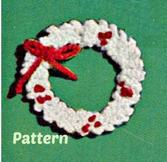 Crochet Holly Wreath Ornament Patterns Vintage 40s Crochet Etsy