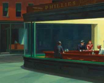 Nighthawks by Edward Hopper, in various sizes, Giclee Canvas Print, flat print, not framed or stretched