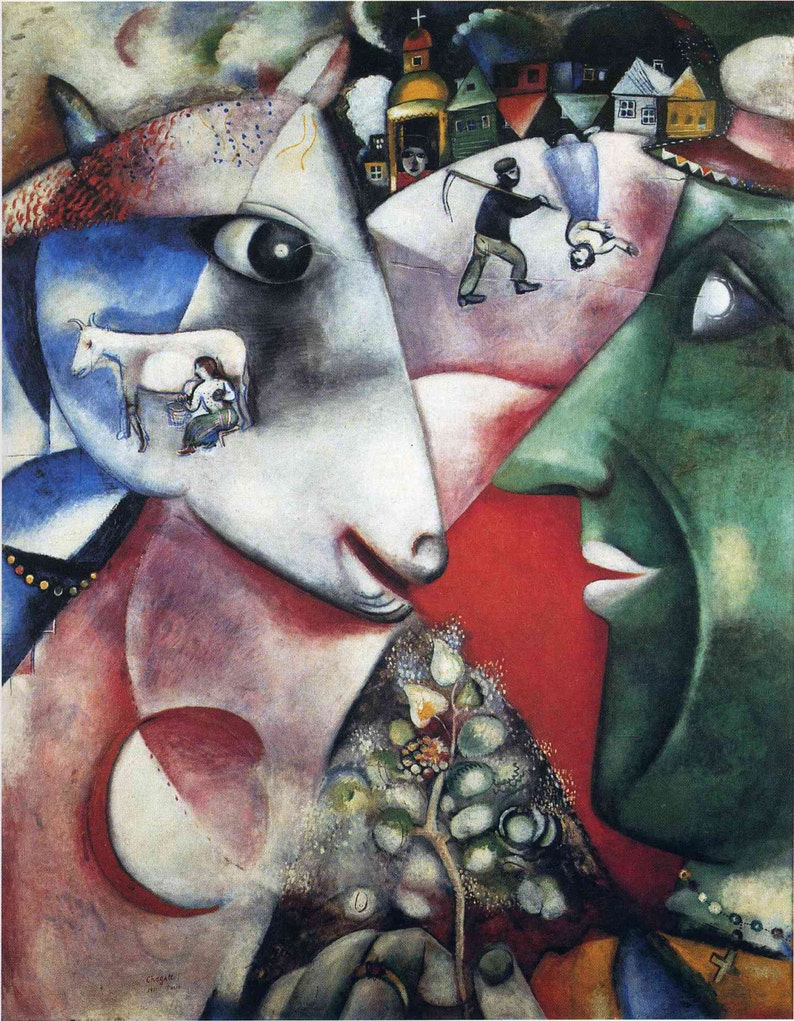 """8/""""x10.25/"""" I and The Village by Marc Chagall Giclee Canvas Print,"""