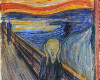 The Scream by Edvard Munch, in various sizes, Giclee Print on Canvas, flat print, not framed or stretched