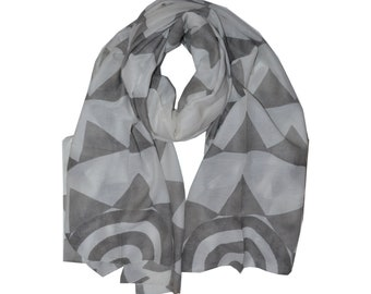 Two Worlds Hand Block Printed Silk Cotton Scarf in Grayscale