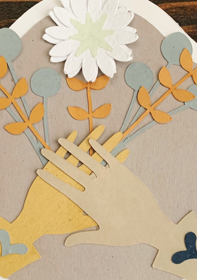 Hands Embracing Greeting Card made from recycled materials