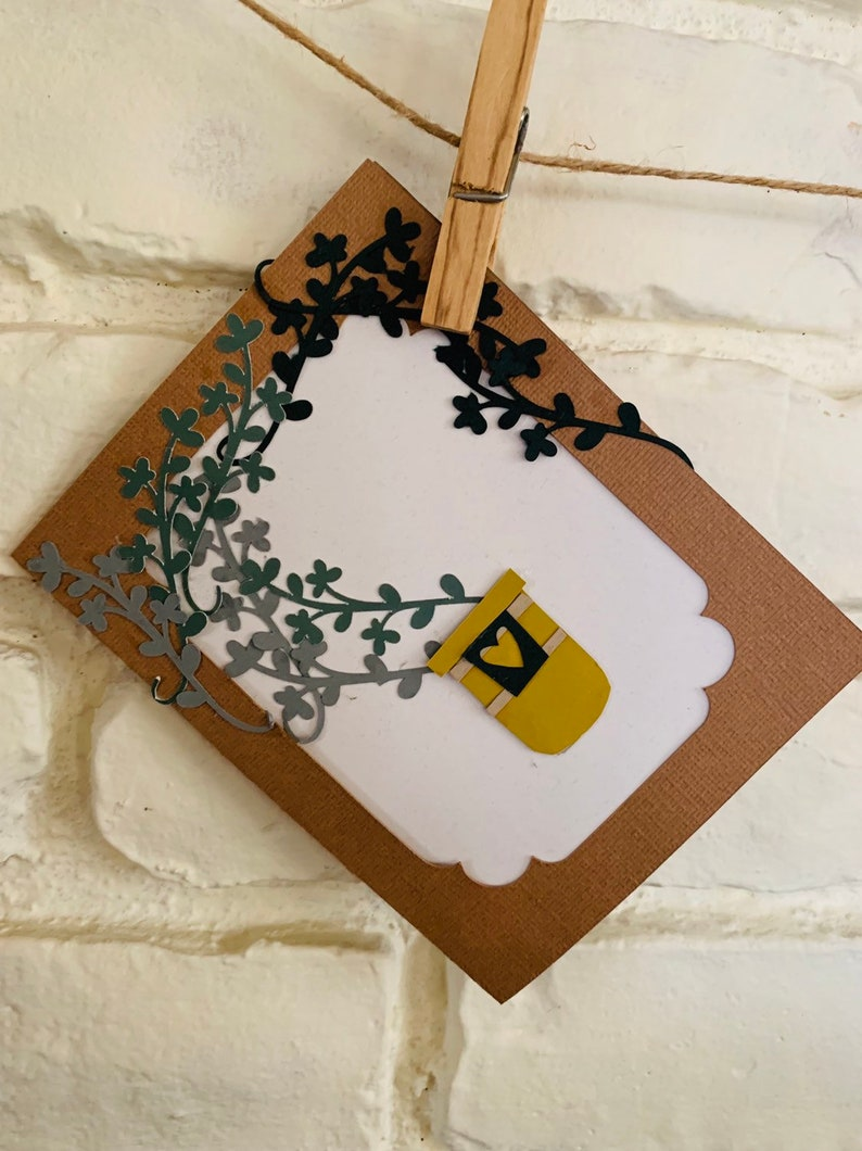 Recycled Greeting Card  Vining Plant Encouragement blank