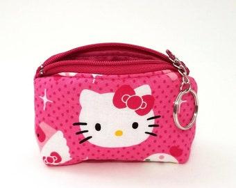 b1a3d4811de Hello Kitty mini coin purse keychain bag. Cotton fabric. Travel. Makeup.  cute. Hot Pink cupcake bow white black