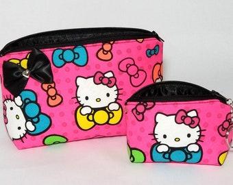 298b82271297 Hello Kitty makeup bag coin purse keychain gift set. Black. Travel cute Hot  Pink neon