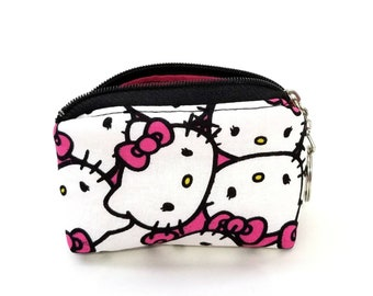 0229be05518f Hello Kitty mini coin purse keychain bag. Cotton fabric. Bow Travel. Makeup.  cute. Hot Pink white black