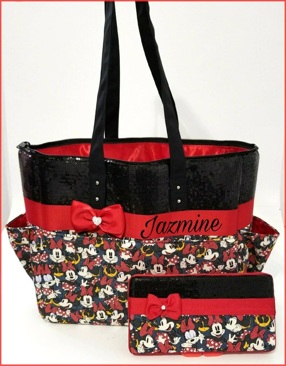 Minnie Mouse diaper tote bag Red. Black sequin. Bow. Baby  b9838ea606516