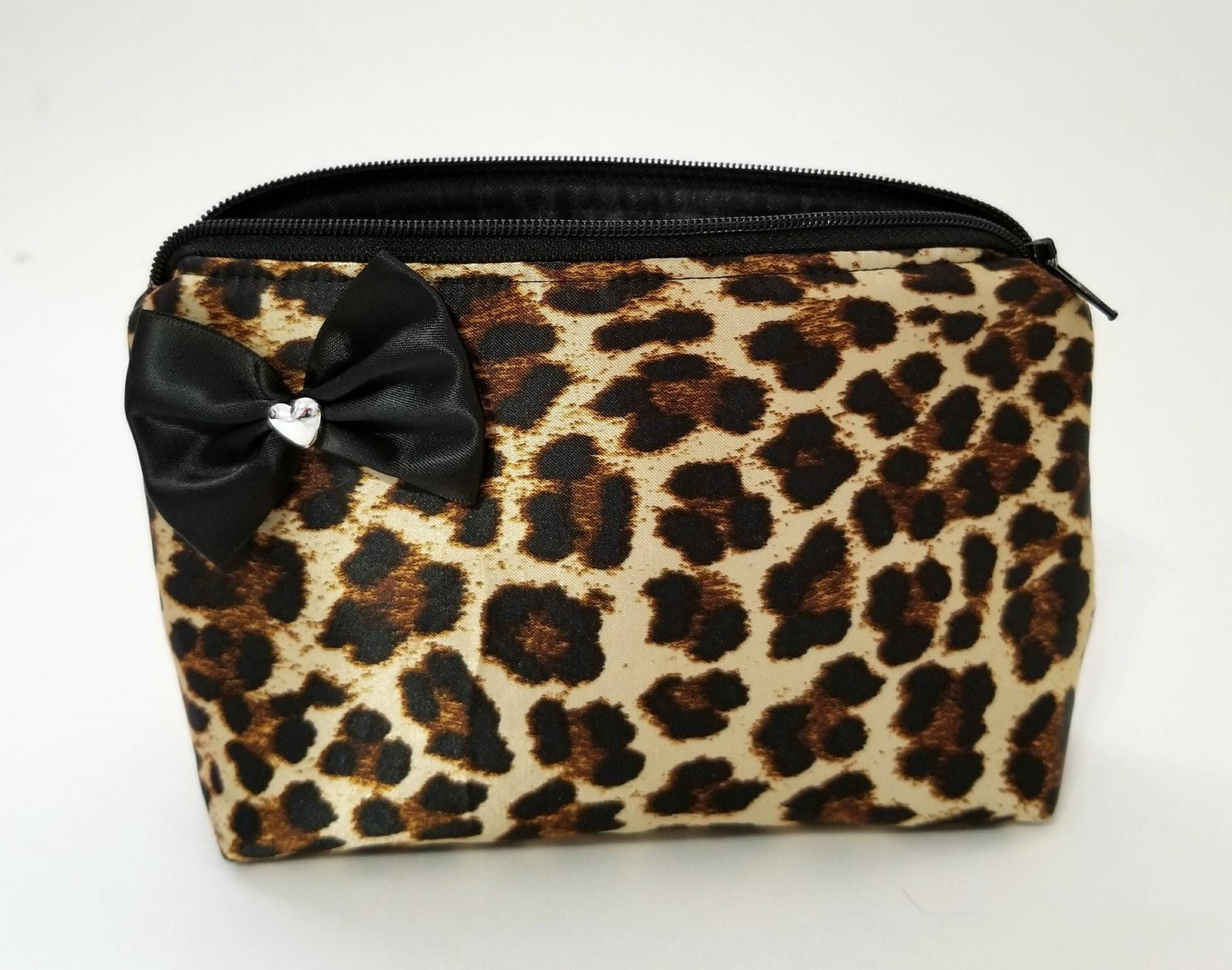 7246d3c541ca Cheetah leopard cosmetic makeup bag. Bow. Travel. Heart. Black. Purse. Coin