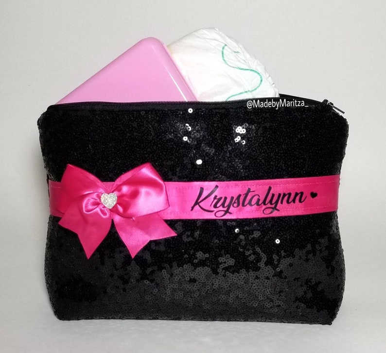Black sequin diaper baby wipes holder bag pouch large makeup bag purse pink bow sparkly gift idea travel size personalized name heart