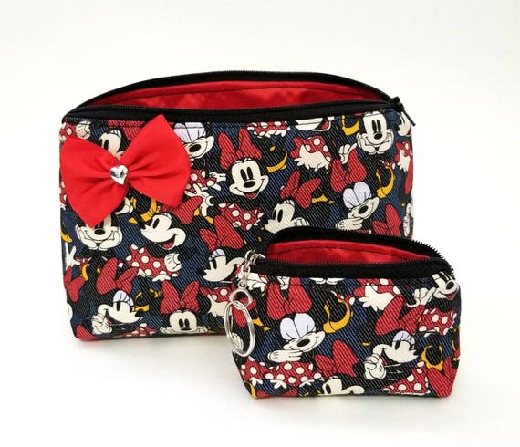 4bc3223cd410 Minnie mouse cosmetic makeup bag coin purse set. Bow. Travel.