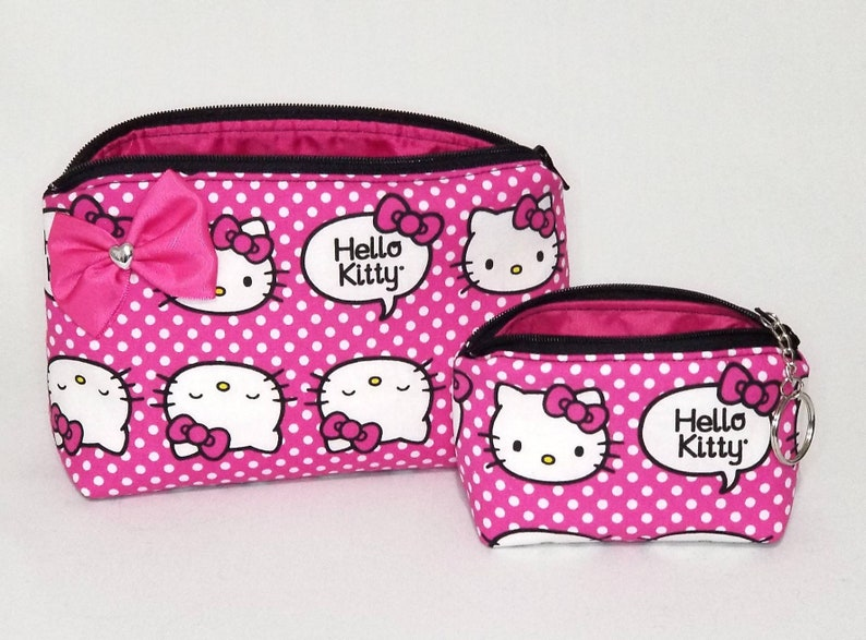 13a32139a Hello Kitty cosmetic makeup bag coin purse keychain gift set | Etsy