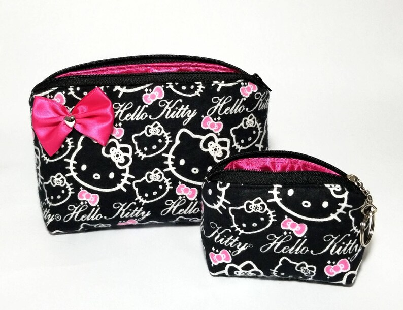 2fb21d401 Hello Kitty makeup bag coin purse keychain gift set. Black | Etsy