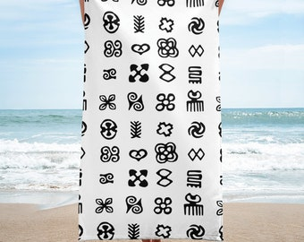 "African Adinkra Ethnic Symbols Print In Black And White Towel 30""x60"""