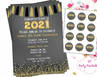 8th grade graduation invitations etsy graduation party invitation digital invitation you print 8th grade graduation kid graduation party black and gold filmwisefo