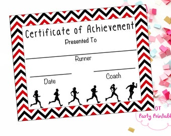 instant download cross country certificate track and field running certificate jog a thon printable running achievement - Cross Country Certificate Templates Free