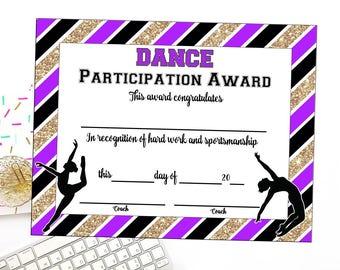 dance certificate etsy