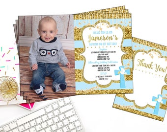 Baptism and birthday invitation etsy baby baptism birthday digital invitation boy first birthday blue and gold theme baptism invite photo invitation baby birthday filmwisefo