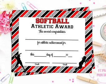 instant download softball certificate of achievement etsy