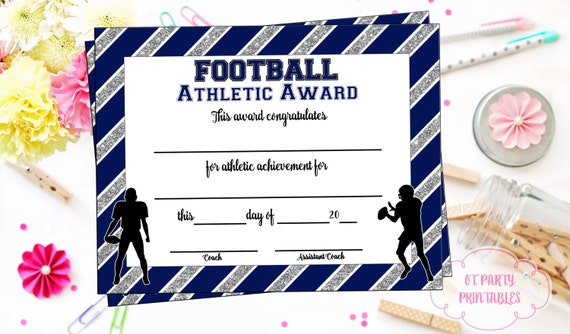 instant download football certificate football award etsy