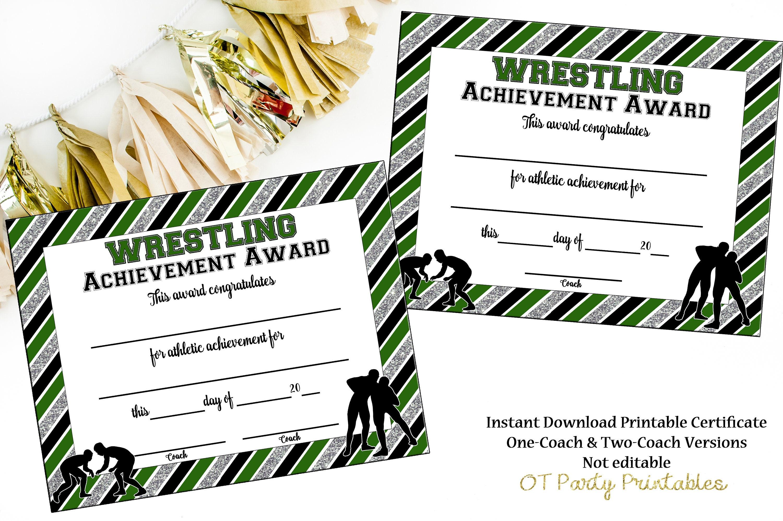 INSTANT DOWNLOAD Wrestling Award Wrestling Certificate | Etsy